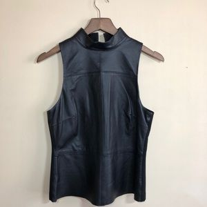 DKNY REAL leather sleeve less shirt